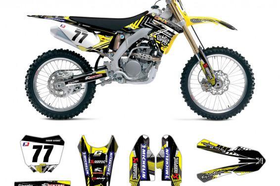 Suzuki Motocross Decals Shadow Yellow