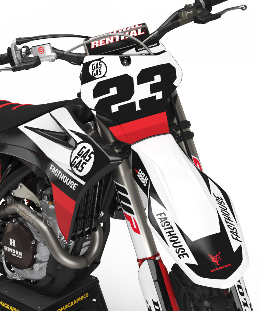 GasGas Mx Graphics Kit Union Black Red Front