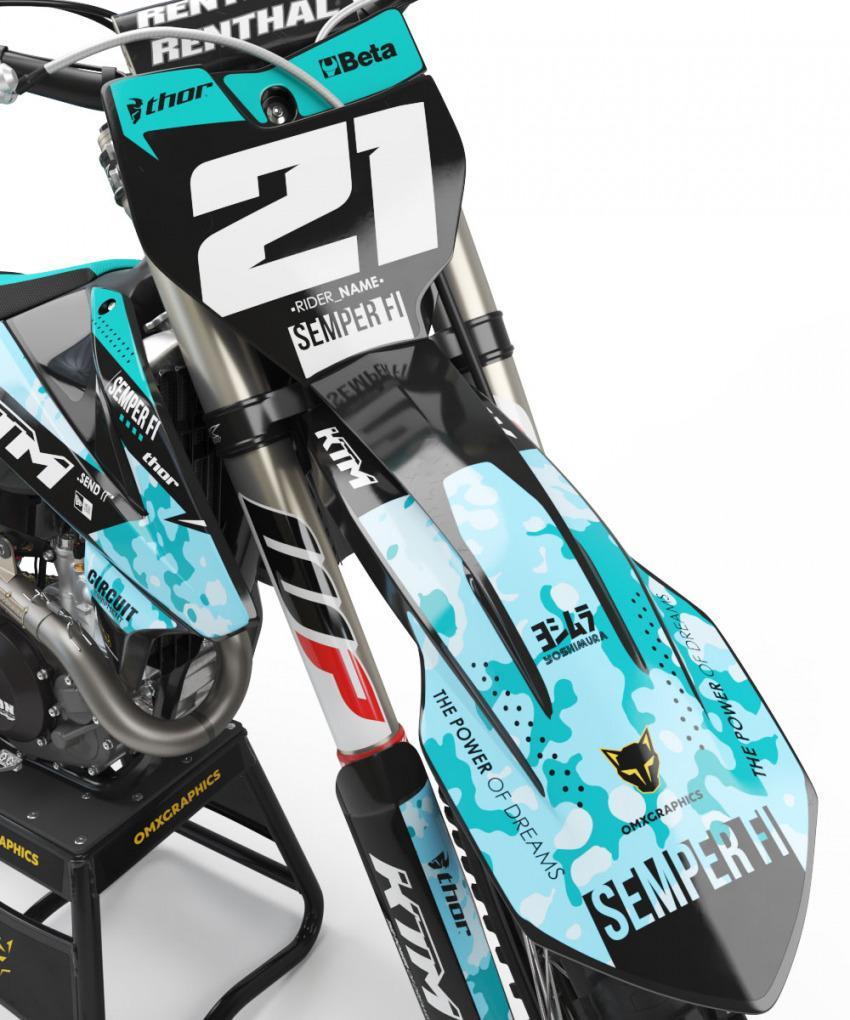 KTM Motocross Graphics Kit SEMPER FI Blue Front